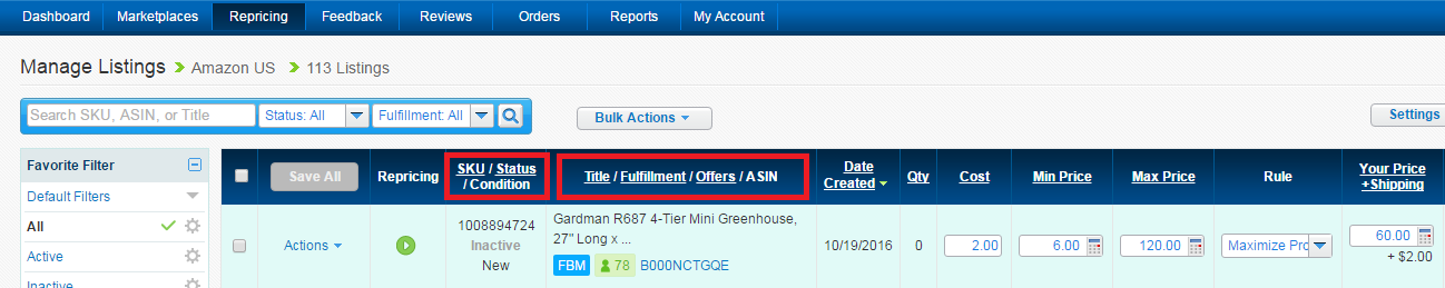 Manage Listings of BQool repricer